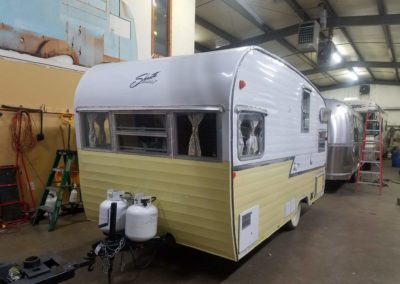 Here she is, in much better shape then when she came in. Ready for camping! P.S. We love that yellow color!!